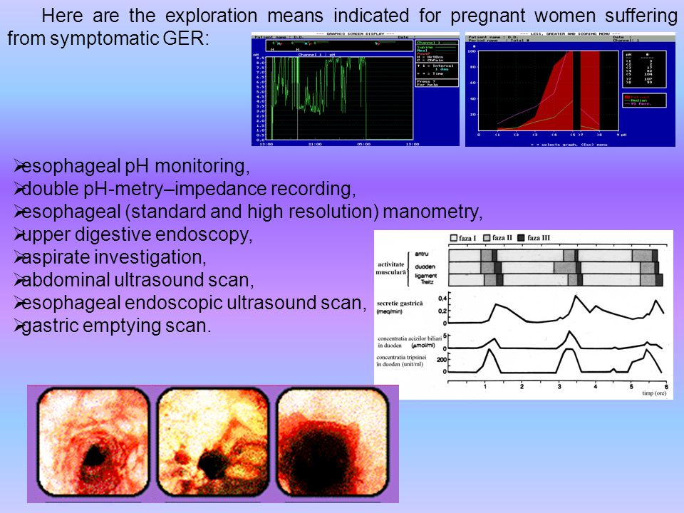 Here are the exploration means indicated for pregnant women suffering from symptomatic GER:  esophageal pH monitoring,  double pH-metry–impedance recording,  esophageal (standard and high resolution) manometry,  upper digestive endoscopy,  aspirate investigation,  abdominal ultrasound scan,  esophageal endoscopic ultrasound scan,  gastric emptying scan.