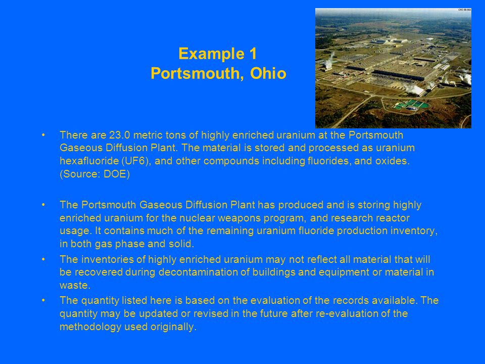 Example 1 Portsmouth, Ohio There are 23.0 metric tons of highly enriched uranium at the Portsmouth Gaseous Diffusion Plant.