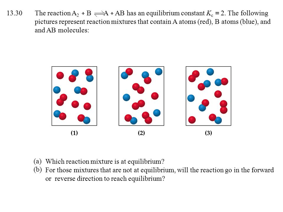 13.30The reaction A 2  B A  AB has an equilibrium constant K c  2.