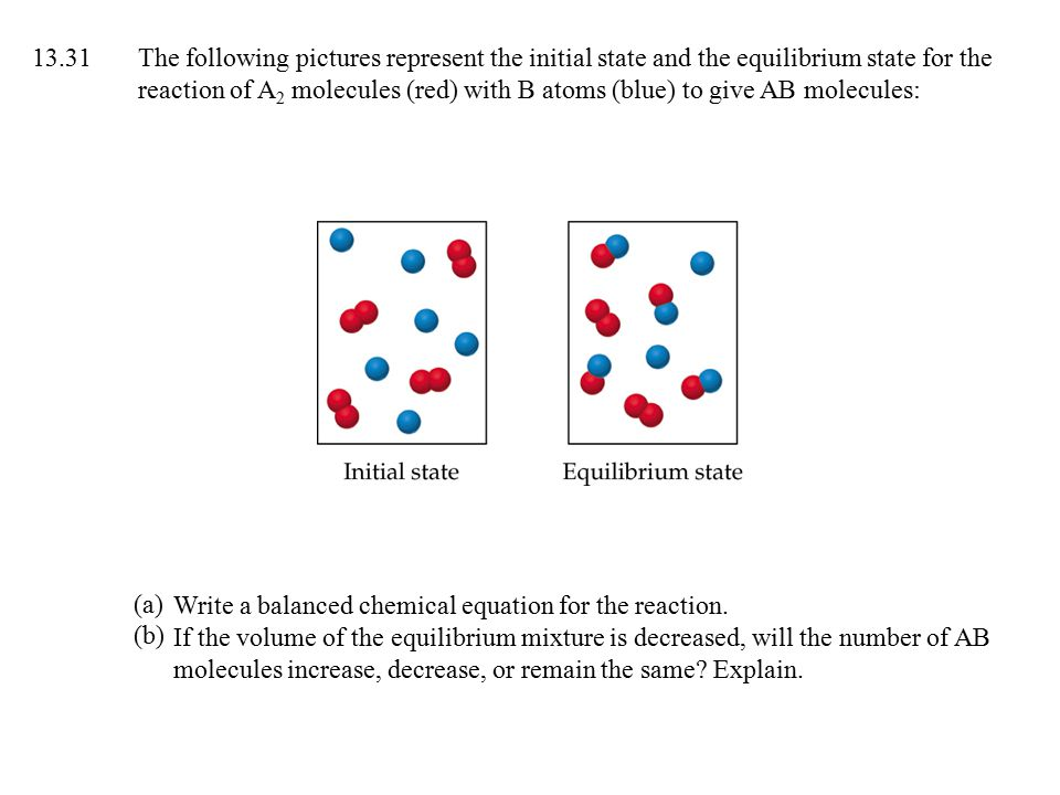13.31The following pictures represent the initial state and the equilibrium state for the reaction of A 2 molecules (red) with B atoms (blue) to give AB molecules: Write a balanced chemical equation for the reaction.