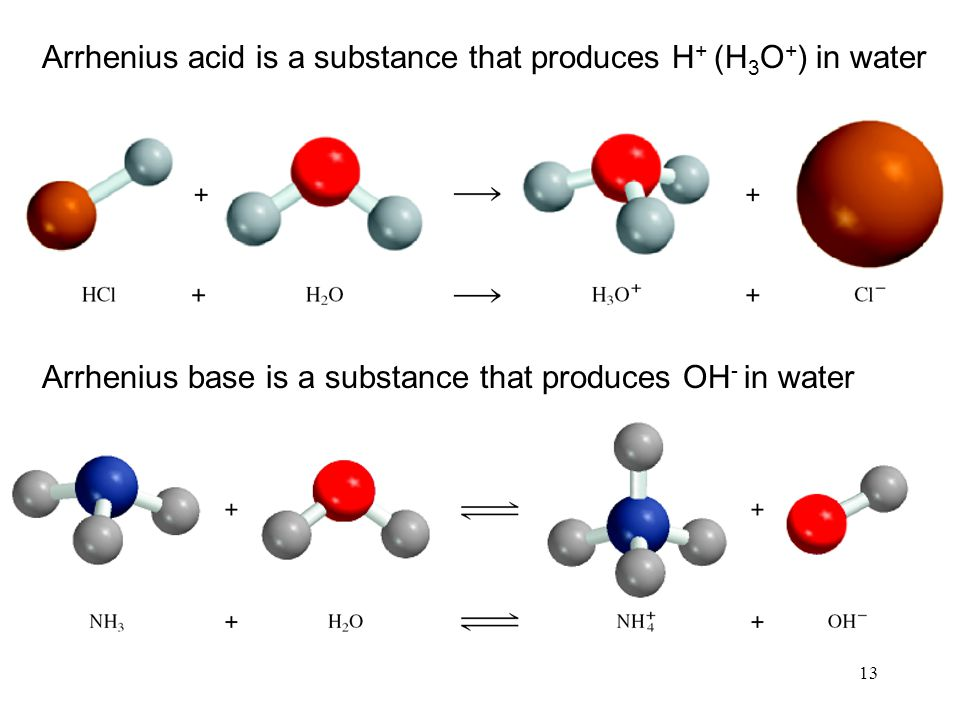13 Arrhenius acid is a substance that produces H + (H 3 O + ) in water Arrhenius base is a substance that produces OH - in water