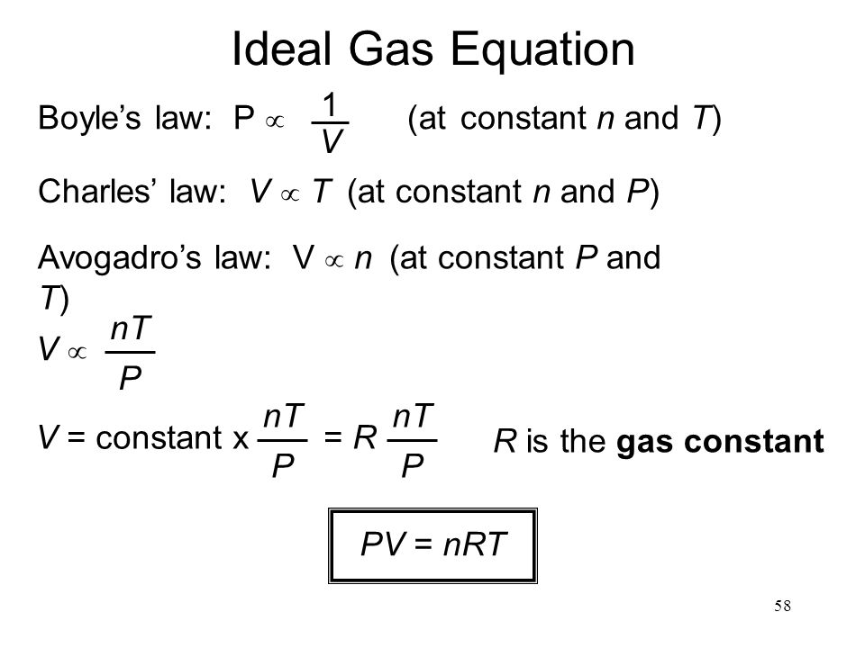58 Ideal Gas Equation Charles' law: V  T  (at constant n and P) Avogadro's law: V   n  (at constant P and T) Boyle's law: P   (at constant n and T) 1 V V V  nT P V = constant x = R nT P P R is the gas constant PV = nRT