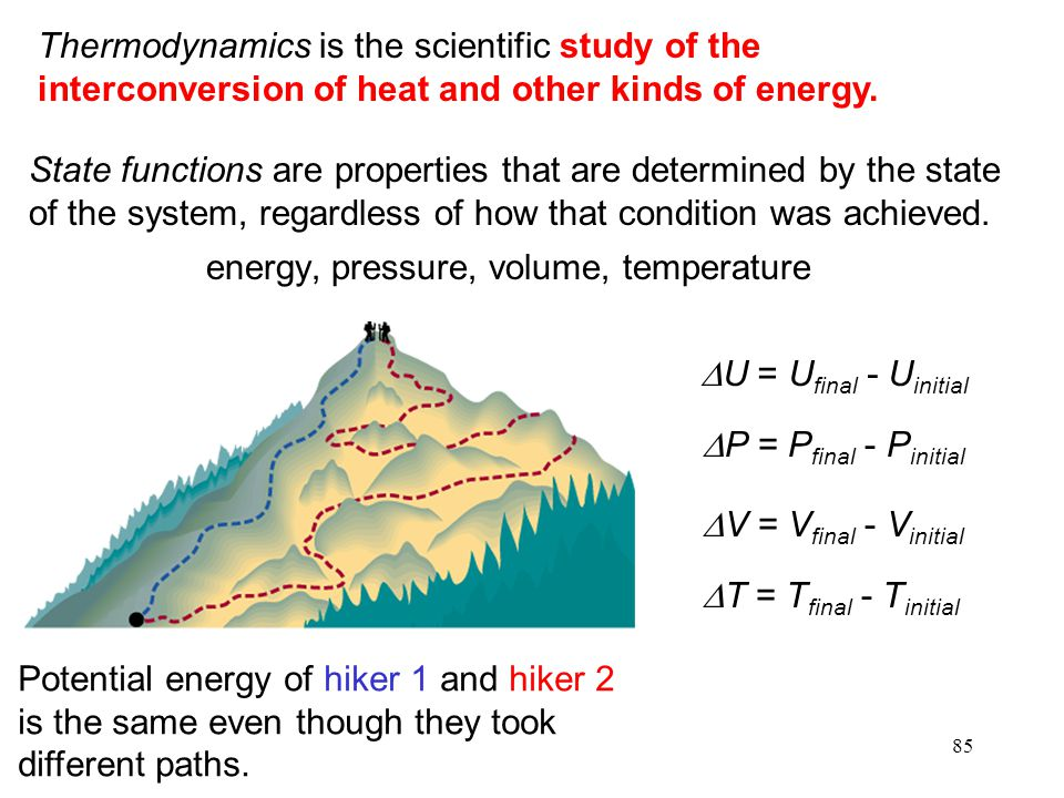 85 Thermodynamics is the scientific study of the interconversion of heat and other kinds of energy.