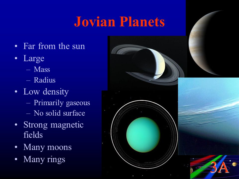 3A Jovian Planets Far from the sun Large –Mass –Radius Low density –Primarily gaseous –No solid surface Strong magnetic fields Many moons Many rings