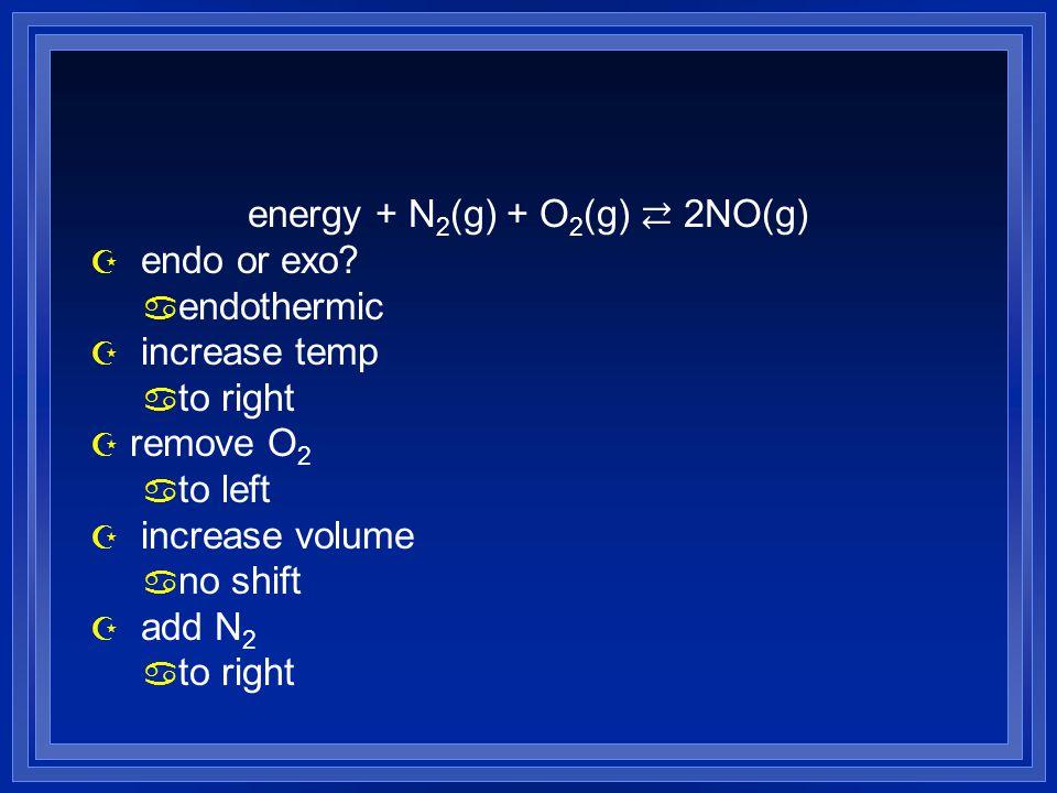 energy + N 2 (g) + O 2 (g) ⇄ 2NO(g) Z endo or exo? a endothermic Z increase temp a to right Z remove O 2 a to left Z increase volume a no shift Z add