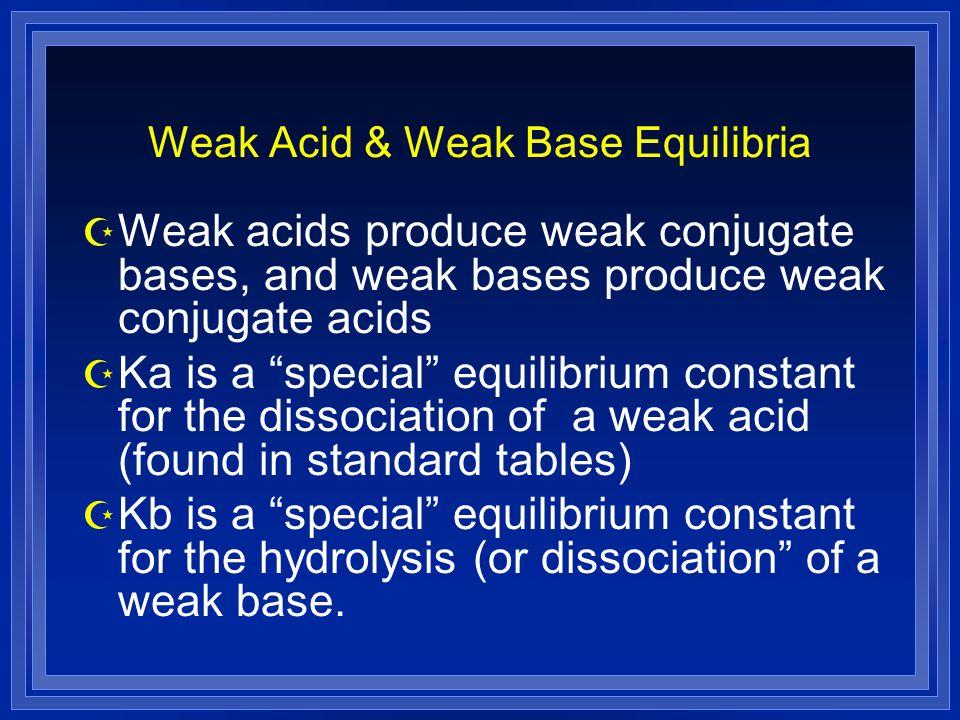 "Weak Acid & Weak Base Equilibria Z Weak acids produce weak conjugate bases, and weak bases produce weak conjugate acids Z Ka is a ""special"" equilibriu"