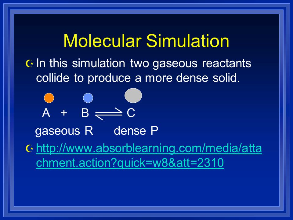 Molecular Simulation Z In this simulation two gaseous reactants collide to produce a more dense solid.
