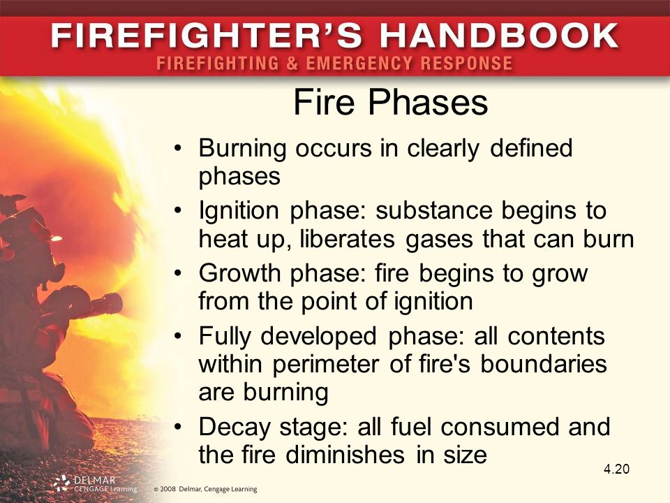 Fire Phases Burning occurs in clearly defined phases Ignition phase: substance begins to heat up, liberates gases that can burn Growth phase: fire begins to grow from the point of ignition Fully developed phase: all contents within perimeter of fire s boundaries are burning Decay stage: all fuel consumed and the fire diminishes in size 4.20