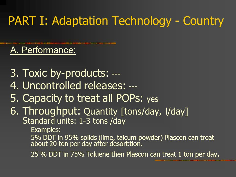 PART I: Adaptation Technology - Country A. Performance: 3.
