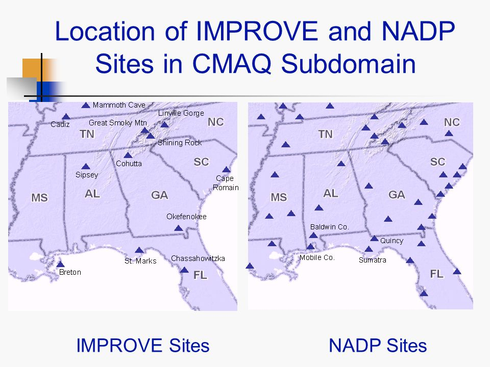 Location of IMPROVE and NADP Sites in CMAQ Subdomain IMPROVE SitesNADP Sites