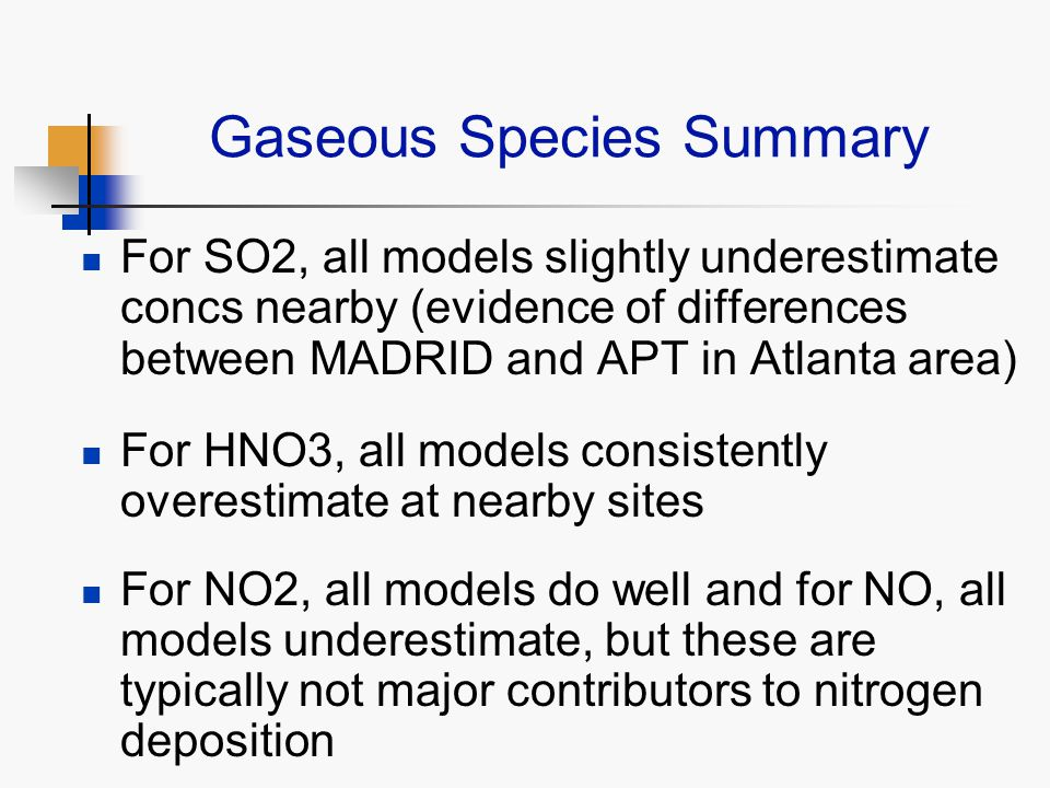 Gaseous Species Summary For SO2, all models slightly underestimate concs nearby (evidence of differences between MADRID and APT in Atlanta area) For HNO3, all models consistently overestimate at nearby sites For NO2, all models do well and for NO, all models underestimate, but these are typically not major contributors to nitrogen deposition