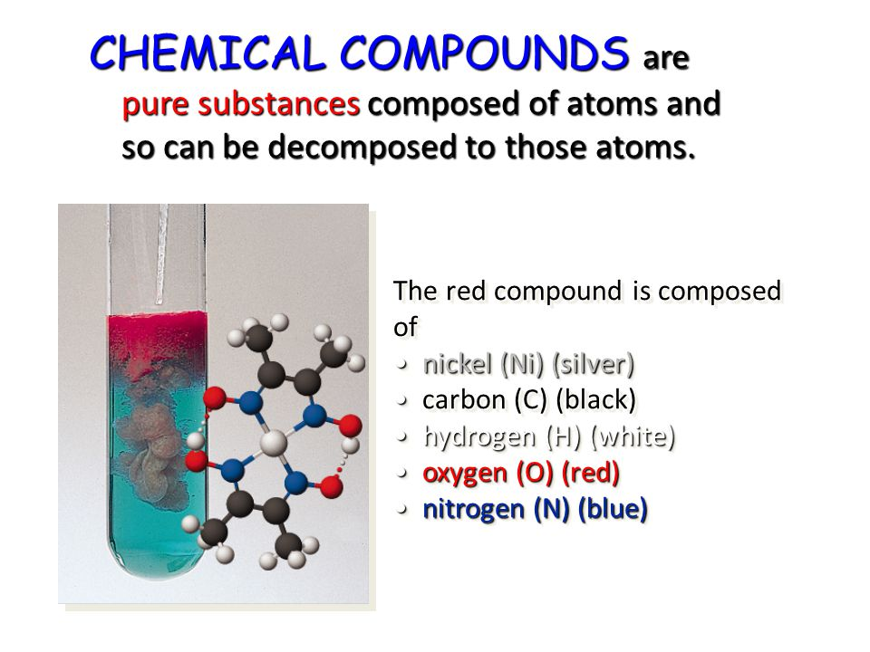 The red compound is composed of nickel (Ni) (silver) carbon (C) (black) hydrogen (H) (white) oxygen (O) (red) nitrogen (N) (blue) CHEMICAL COMPOUNDS a