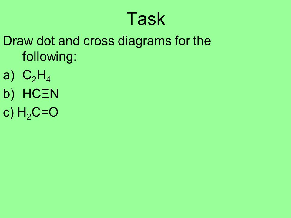 Task Draw dot and cross diagrams for the following: a)C 2 H 4 b)HCΞN c) H 2 C=O