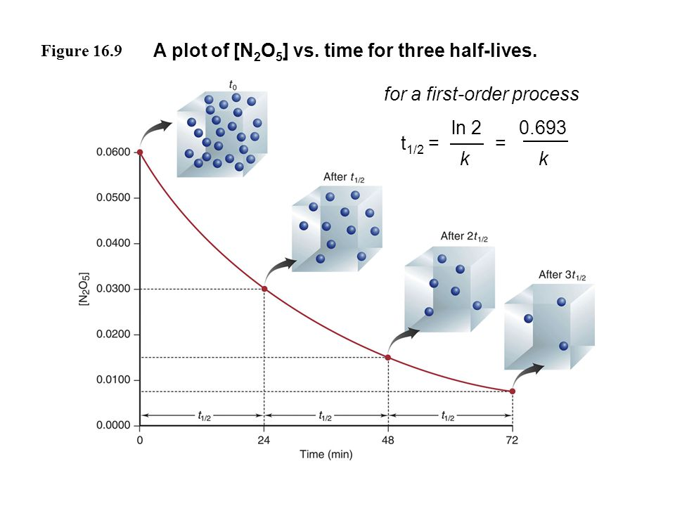 Figure 16.9 A plot of [N 2 O 5 ] vs. time for three half-lives. t 1/2 = for a first-order process ln 2 k 0.693 k =