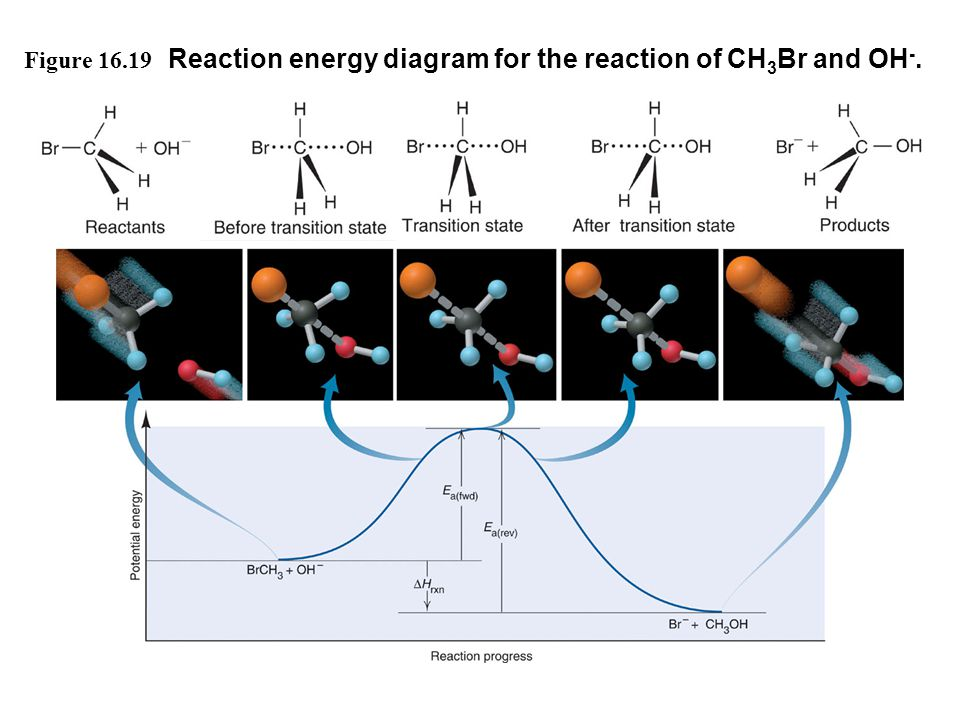 Figure 16.19 Reaction energy diagram for the reaction of CH 3 Br and OH -.