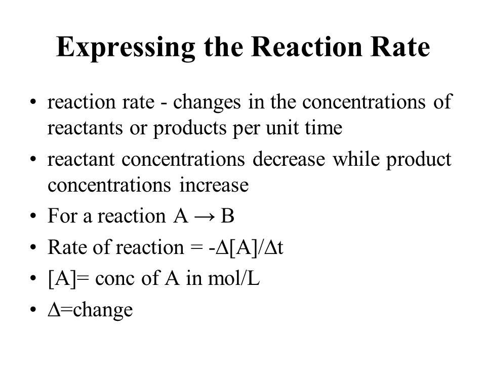 Expressing the Reaction Rate Units= moles per liter per second.