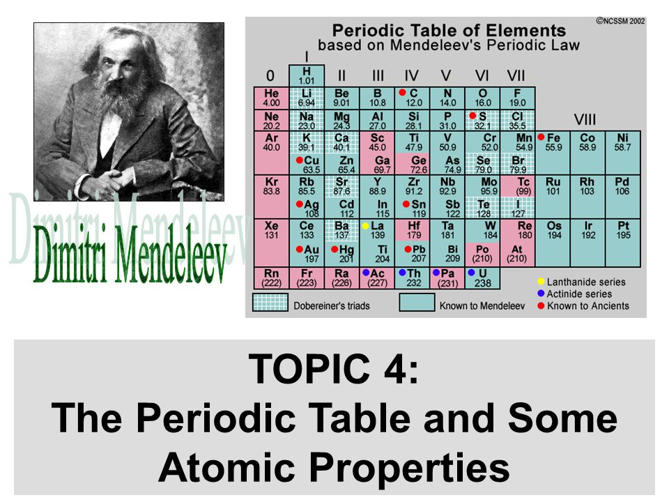 TOPIC 4: The Periodic Table and Some Atomic Properties