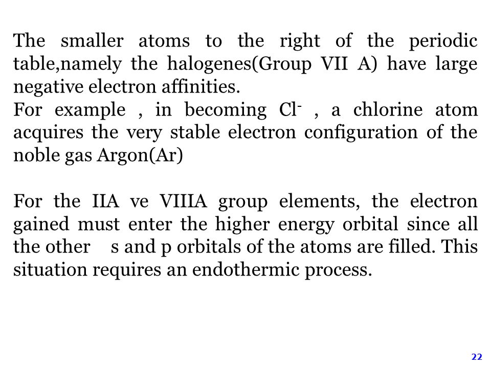 22 The smaller atoms to the right of the periodic table,namely the halogenes(Group VII A) have large negative electron affinities.