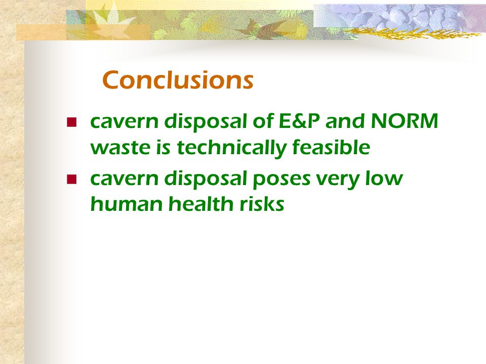 Conclusions cavern disposal of E&P and NORM waste is technically feasible cavern disposal poses very low human health risks