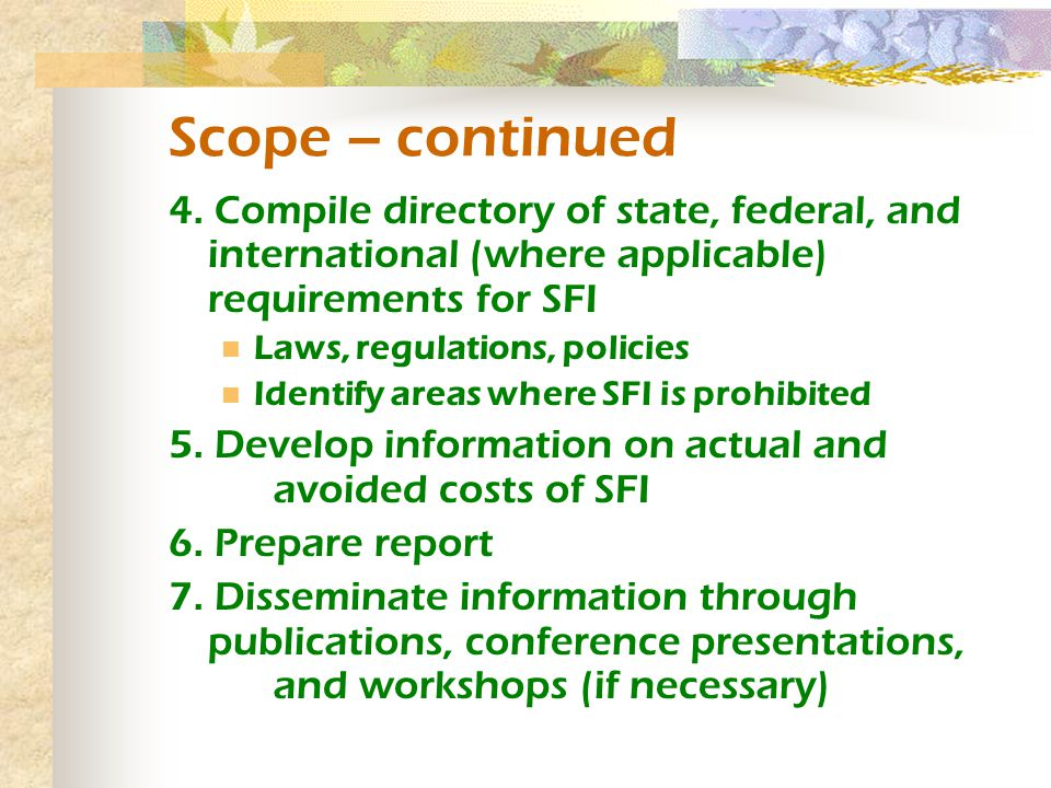Scope – continued 4.