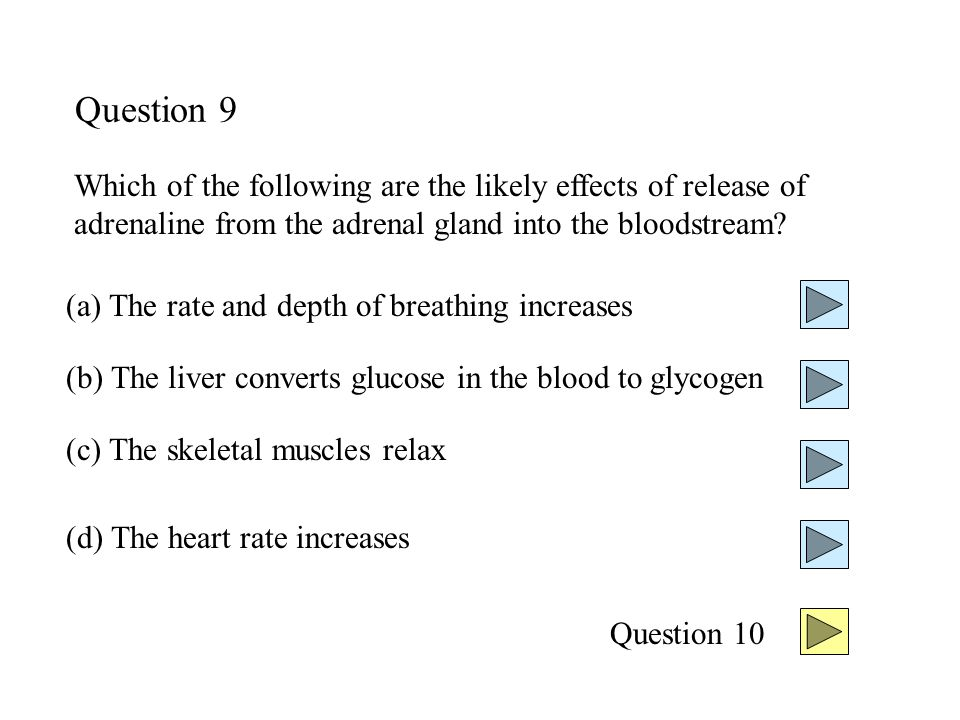 Question 9 Which of the following are the likely effects of release of adrenaline from the adrenal gland into the bloodstream.