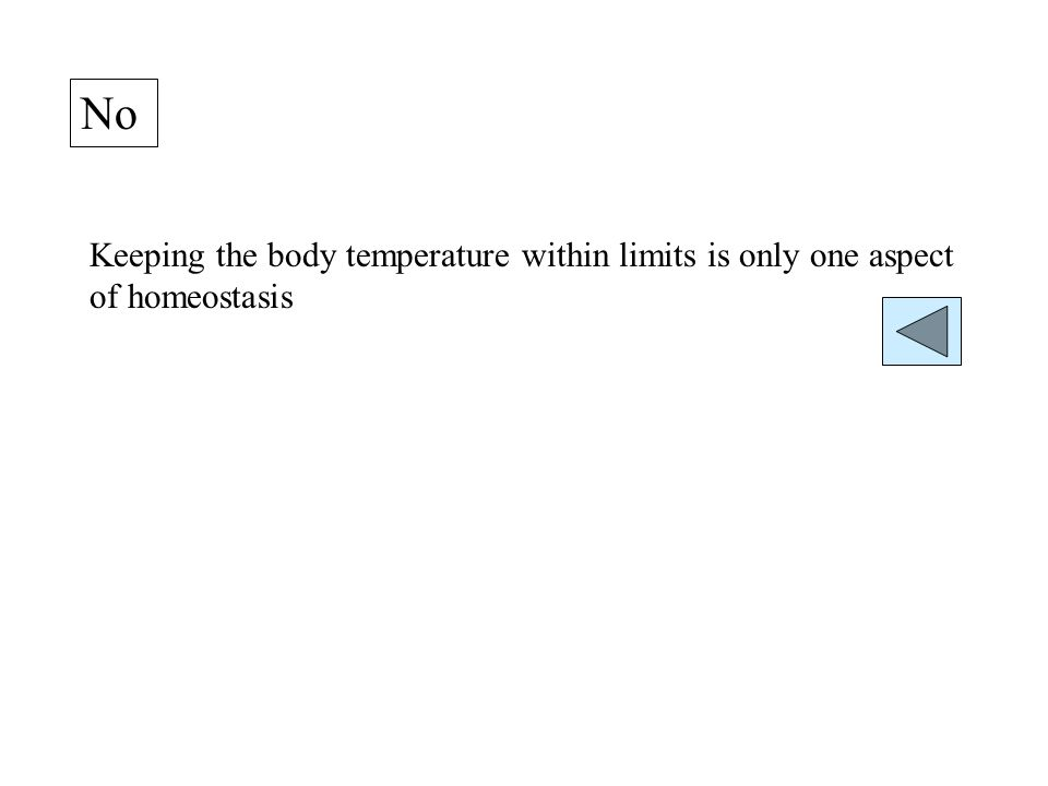 No Keeping the body temperature within limits is only one aspect of homeostasis