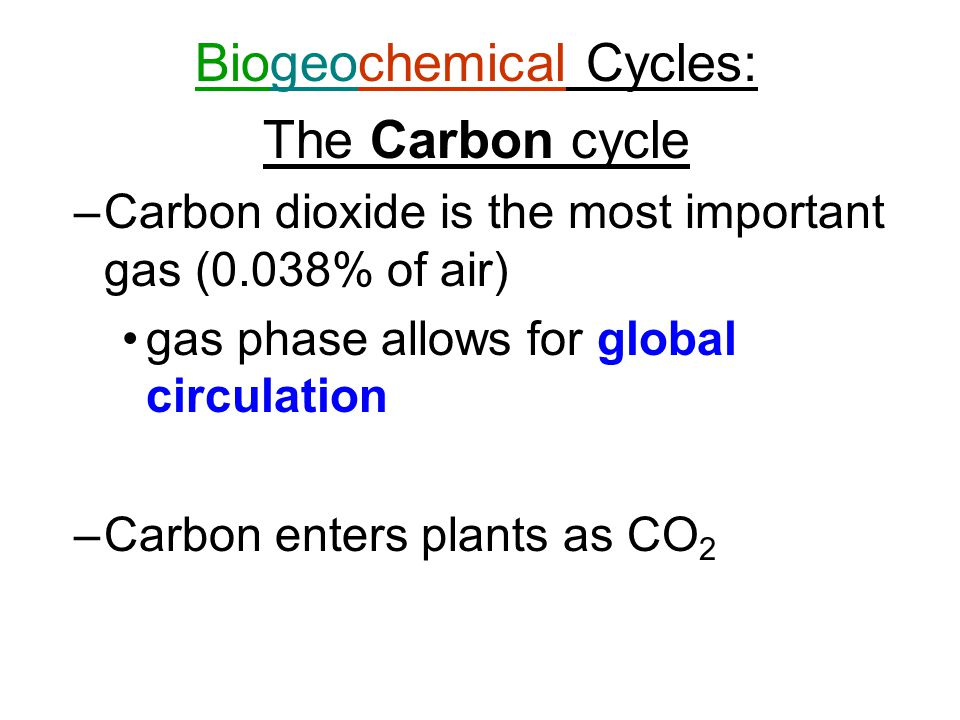 Biogeochemical Cycles: The Carbon cycle –Carbon dioxide is the most important gas (0.038% of air) gas phase allows for global circulation –Carbon enters plants as CO 2