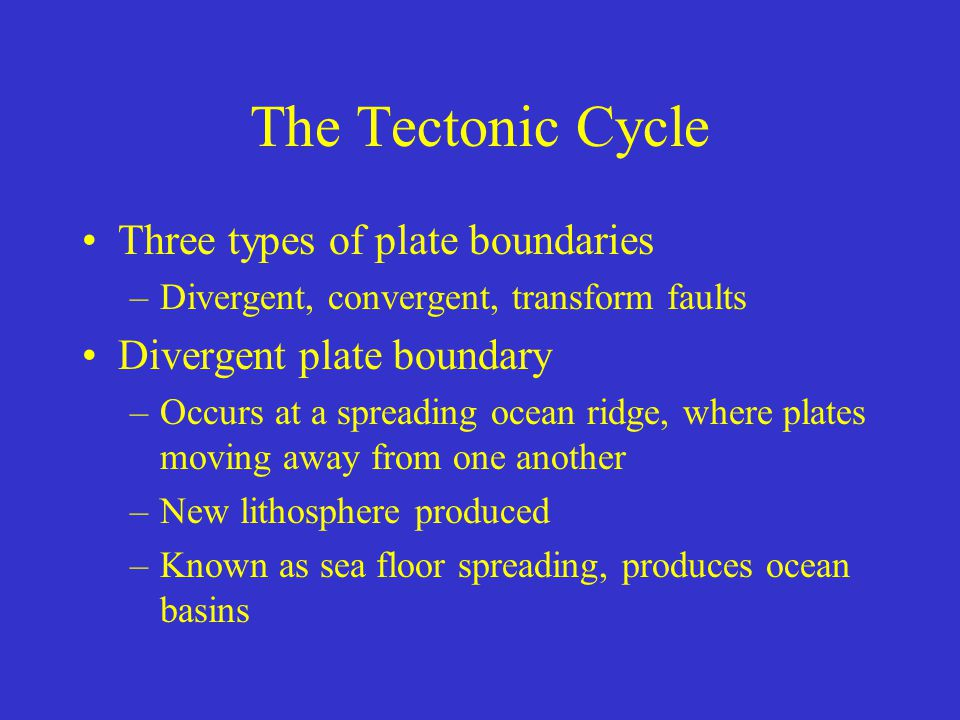 The Tectonic Cycle Three types of plate boundaries –Divergent, convergent, transform faults Divergent plate boundary –Occurs at a spreading ocean ridg