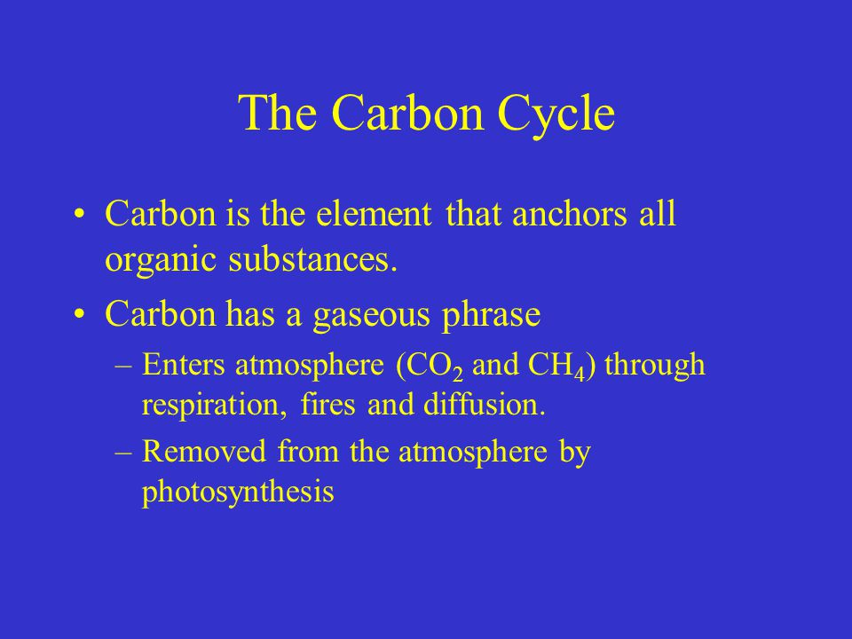 The Carbon Cycle Carbon is the element that anchors all organic substances. Carbon has a gaseous phrase –Enters atmosphere (CO 2 and CH 4 ) through re