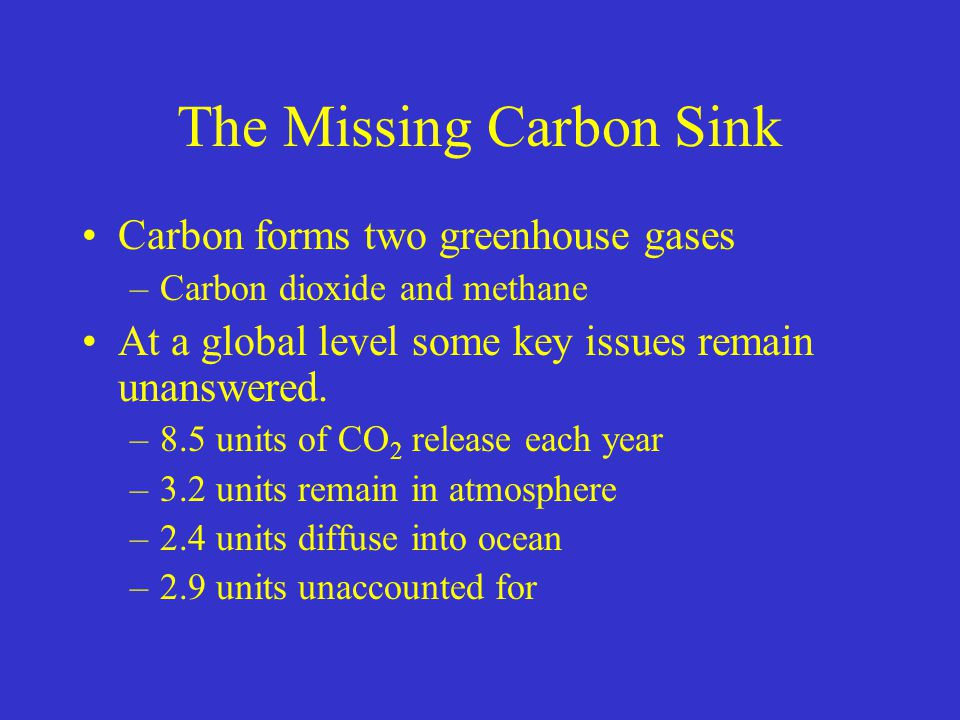 The Missing Carbon Sink Carbon forms two greenhouse gases –Carbon dioxide and methane At a global level some key issues remain unanswered. –8.5 units