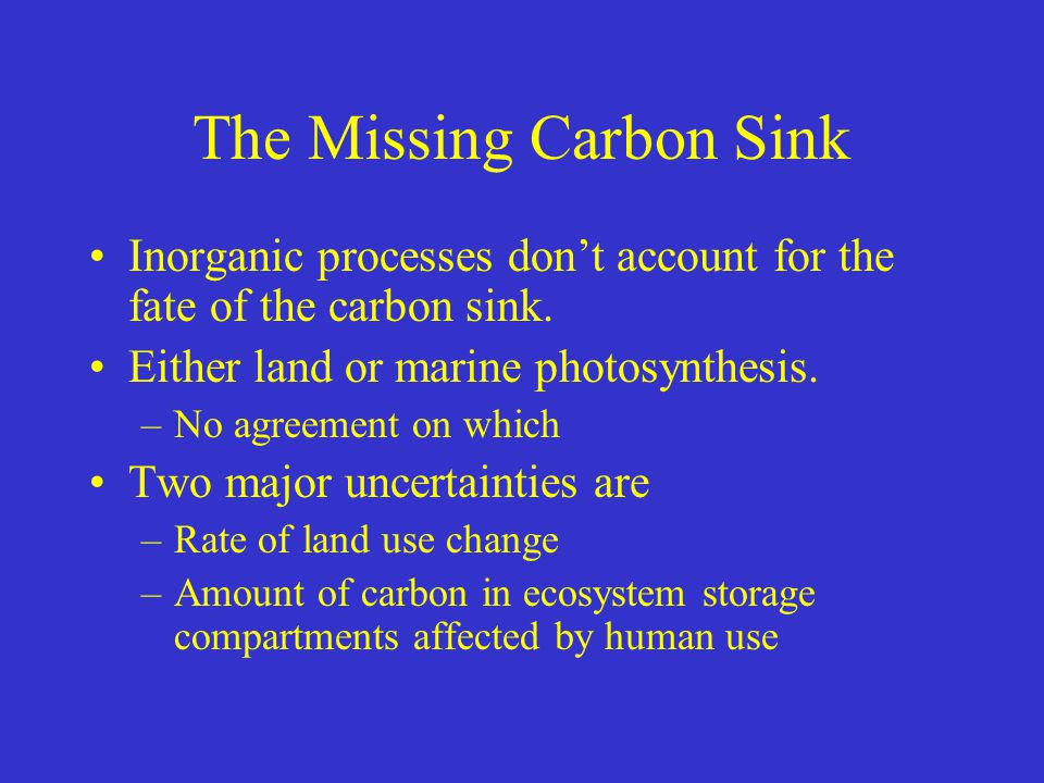 The Missing Carbon Sink Inorganic processes don't account for the fate of the carbon sink. Either land or marine photosynthesis. –No agreement on whic