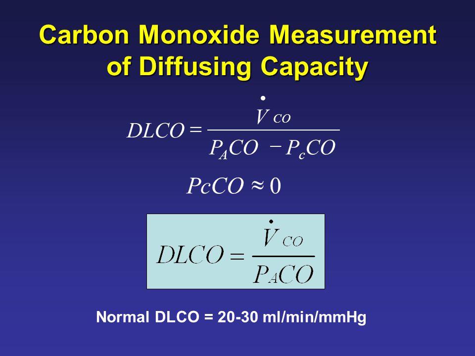 Normal DLCO = 20-30 ml/min/mmHg Carbon Monoxide Measurement of Diffusing Capacity 0  PcCO P A CO V DLCO CO   