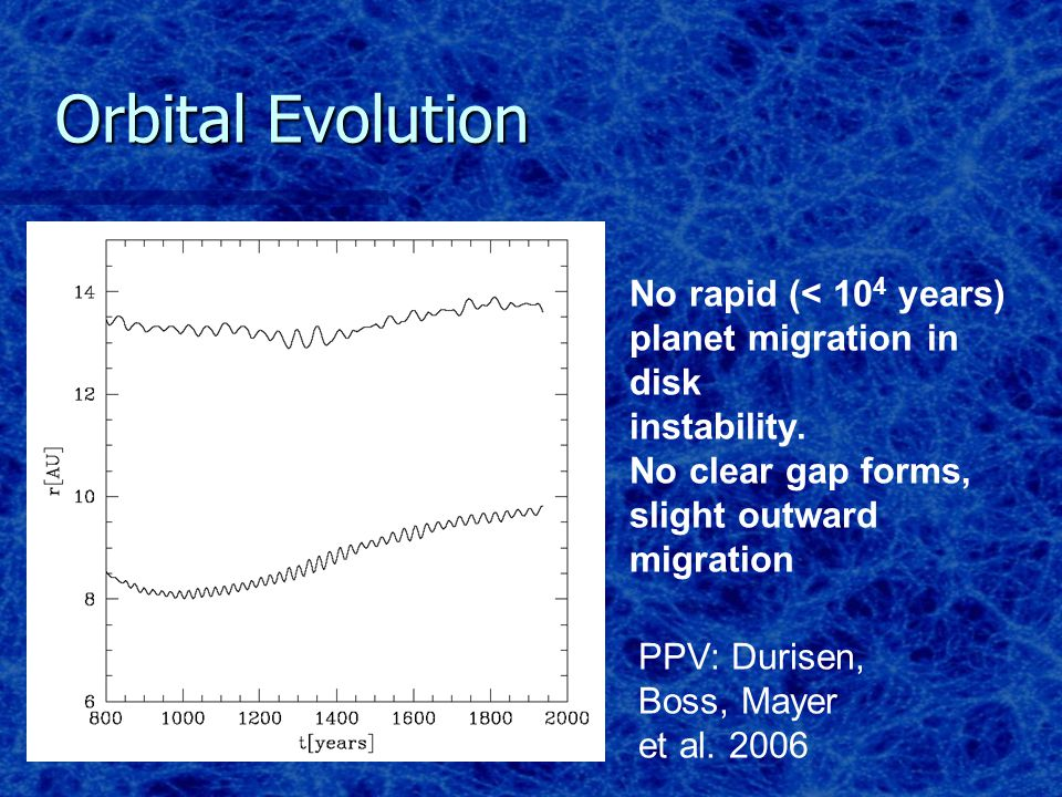 No rapid (< 10 4 years) planet migration in disk instability.