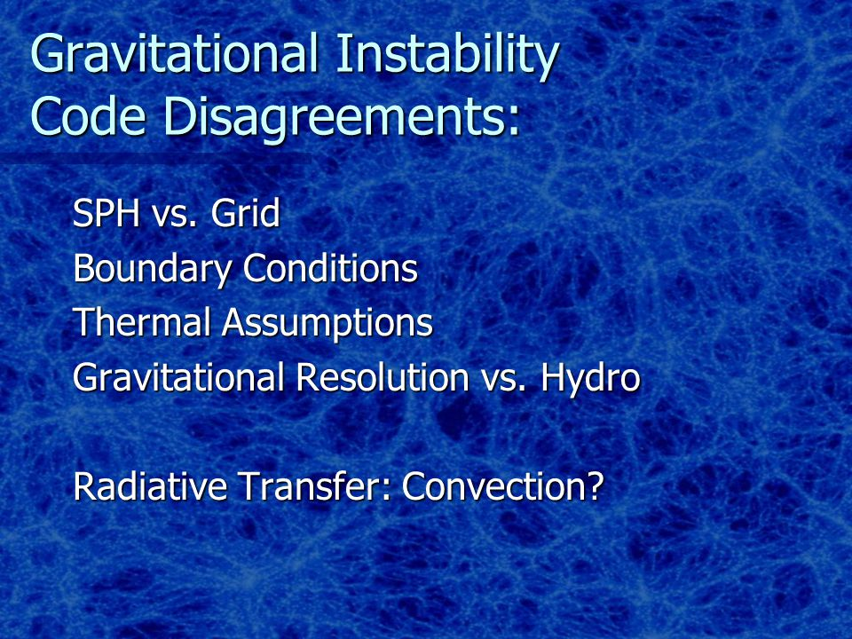 Gravitational Instability Code Disagreements: SPH vs.