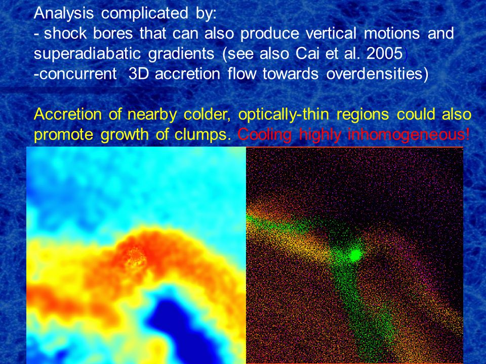 Analysis complicated by: - shock bores that can also produce vertical motions and superadiabatic gradients (see also Cai et al.