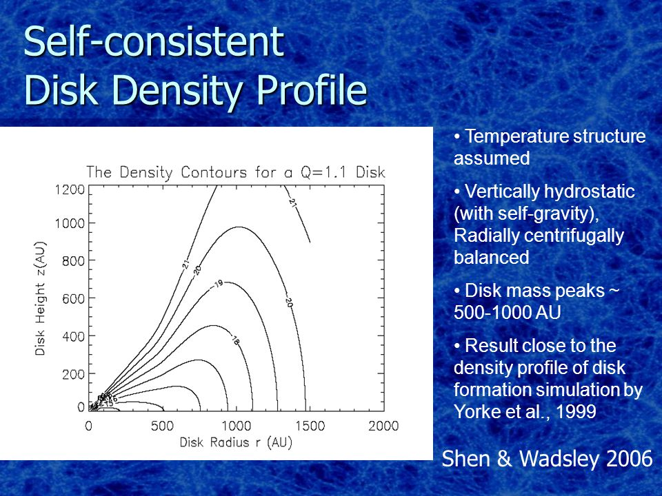 Self-consistent Disk Density Profile Temperature structure assumed Vertically hydrostatic (with self-gravity), Radially centrifugally balanced Disk mass peaks ~ 500-1000 AU Result close to the density profile of disk formation simulation by Yorke et al., 1999 Shen & Wadsley 2006