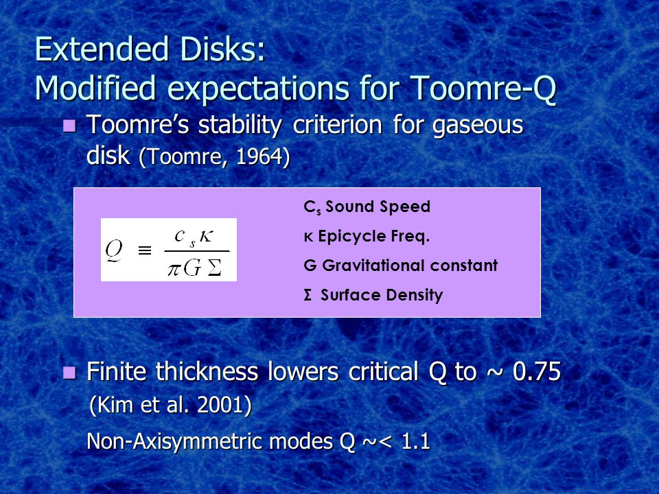 Thickness of the Disk Minimum Q = 0.9 Minimum Q = 1.1 Minimum Q = 1.3 Note: Watkins et al 1998 Q ~ 2.4 More sphere than disk