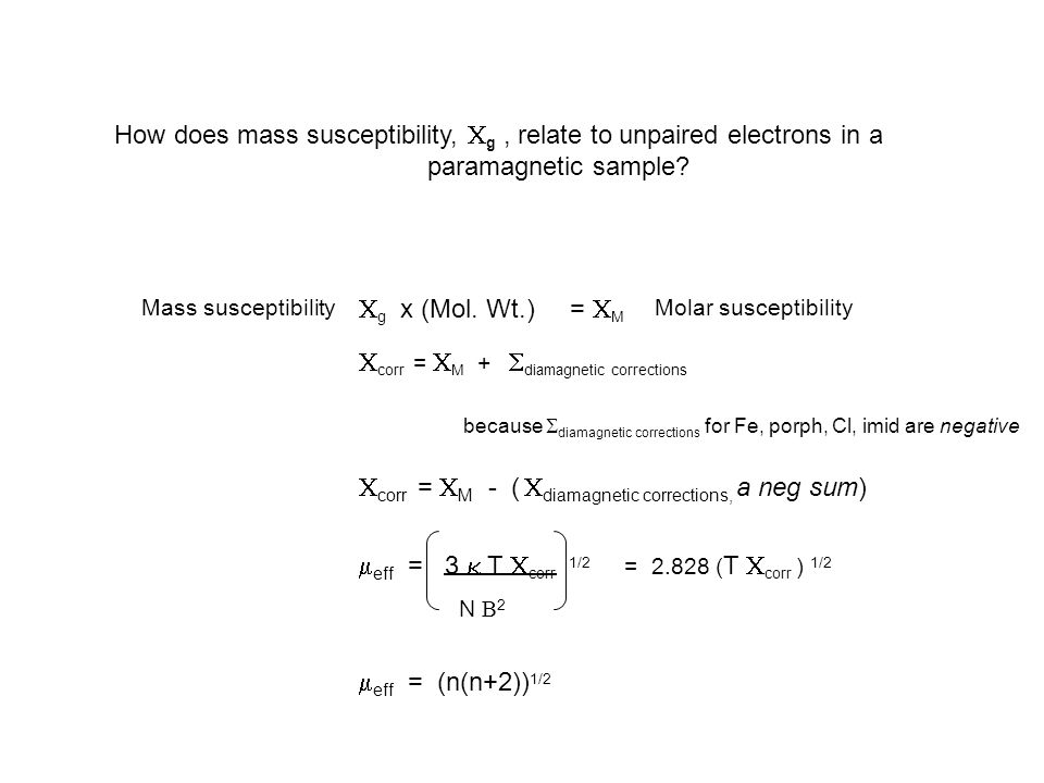 How does mass susceptibility,  g, relate to unpaired electrons in a paramagnetic sample.
