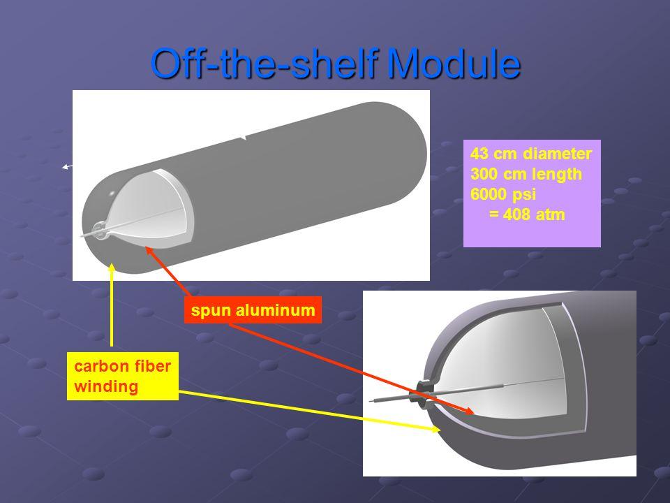 Off-the-shelf Module ~ 3 m ~ 40 cm spun aluminum carbon fiber winding 43 cm diameter 300 cm length 6000 psi = 408 atm