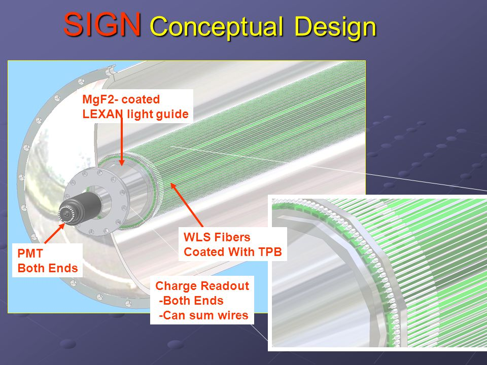 SIGN Conceptual Design PMT Both Ends Charge Readout -Both Ends -Can sum wires MgF2- coated LEXAN light guide WLS Fibers Coated With TPB