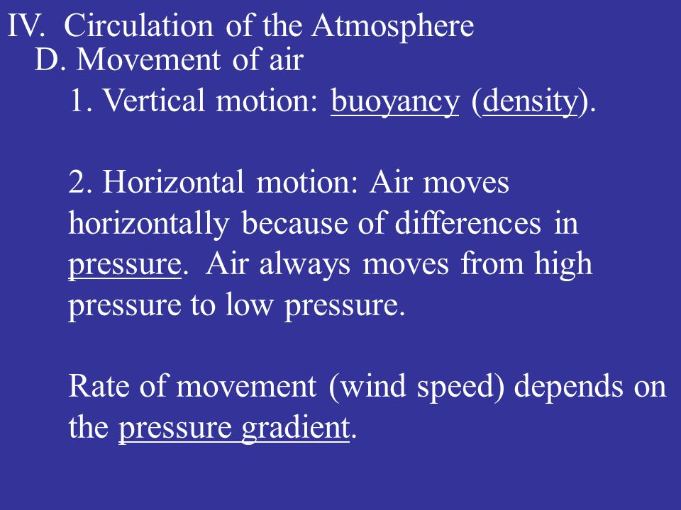 IV. Circulation of the Atmosphere D. Movement of air 1.