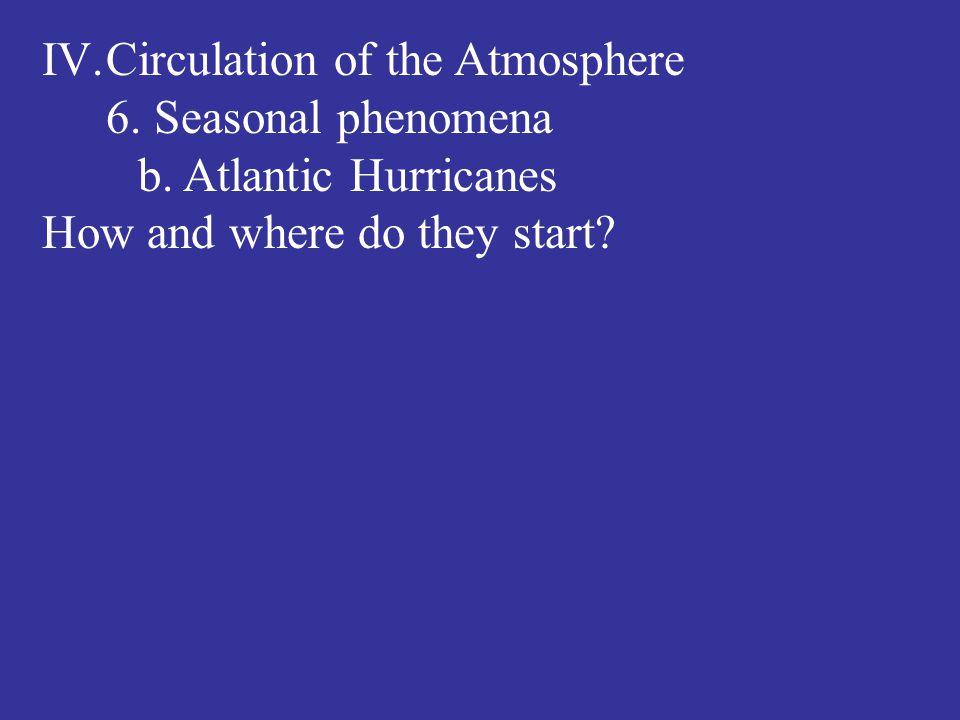 IV.Circulation of the Atmosphere 6. Seasonal phenomena b. Atlantic Hurricanes How and where do they start?