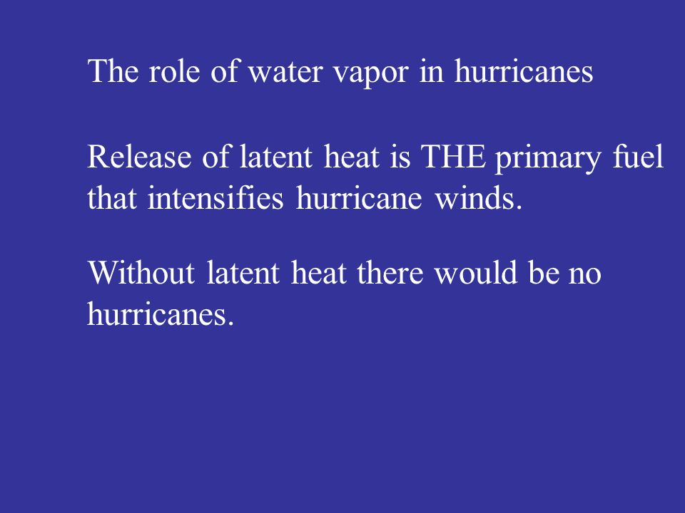 The role of water vapor in hurricanes Release of latent heat is THE primary fuel that intensifies hurricane winds.