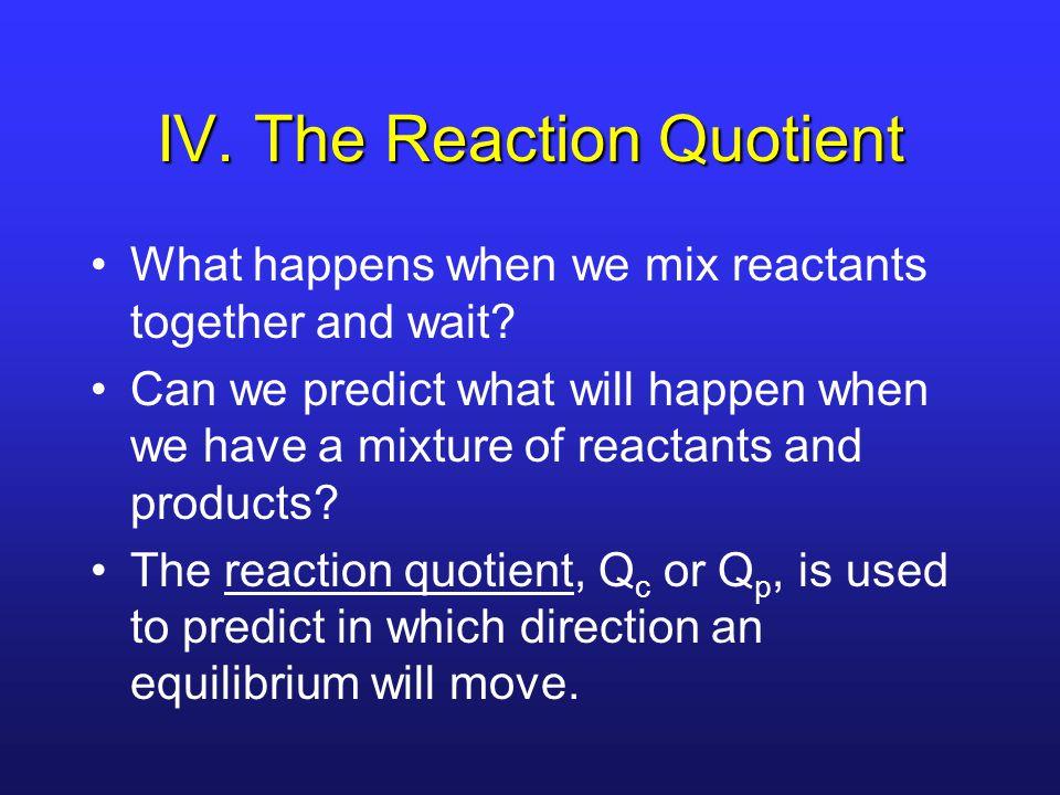 IV. The Reaction Quotient What happens when we mix reactants together and wait.