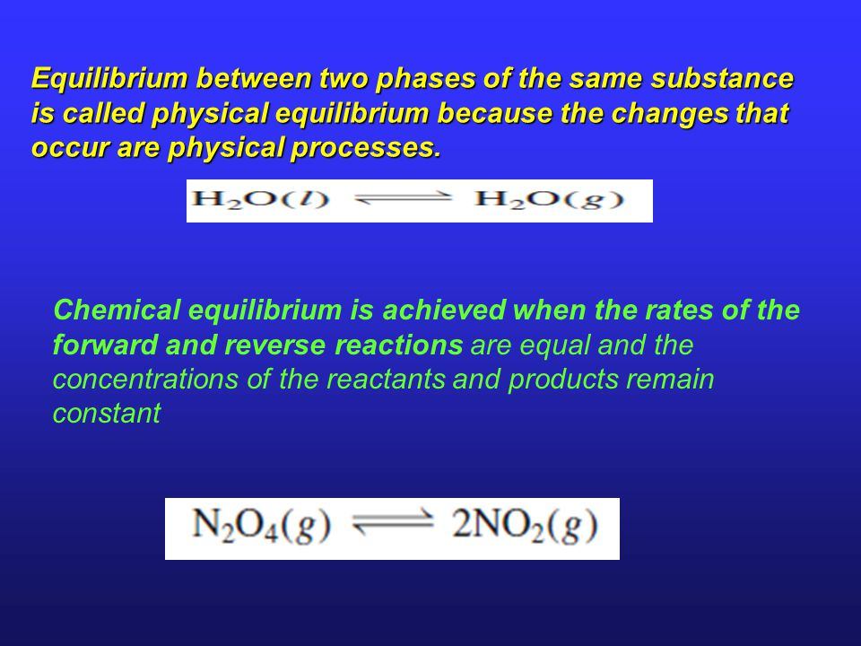 Equilibrium between two phases of the same substance is called physical equilibrium because the changes that occur are physical processes.