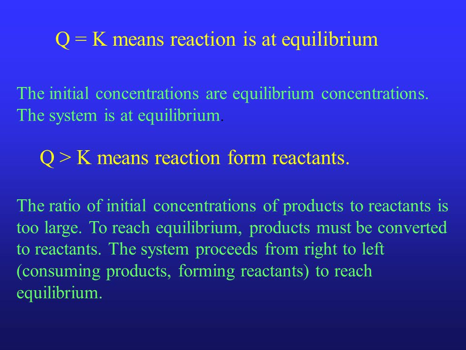 The initial concentrations are equilibrium concentrations.