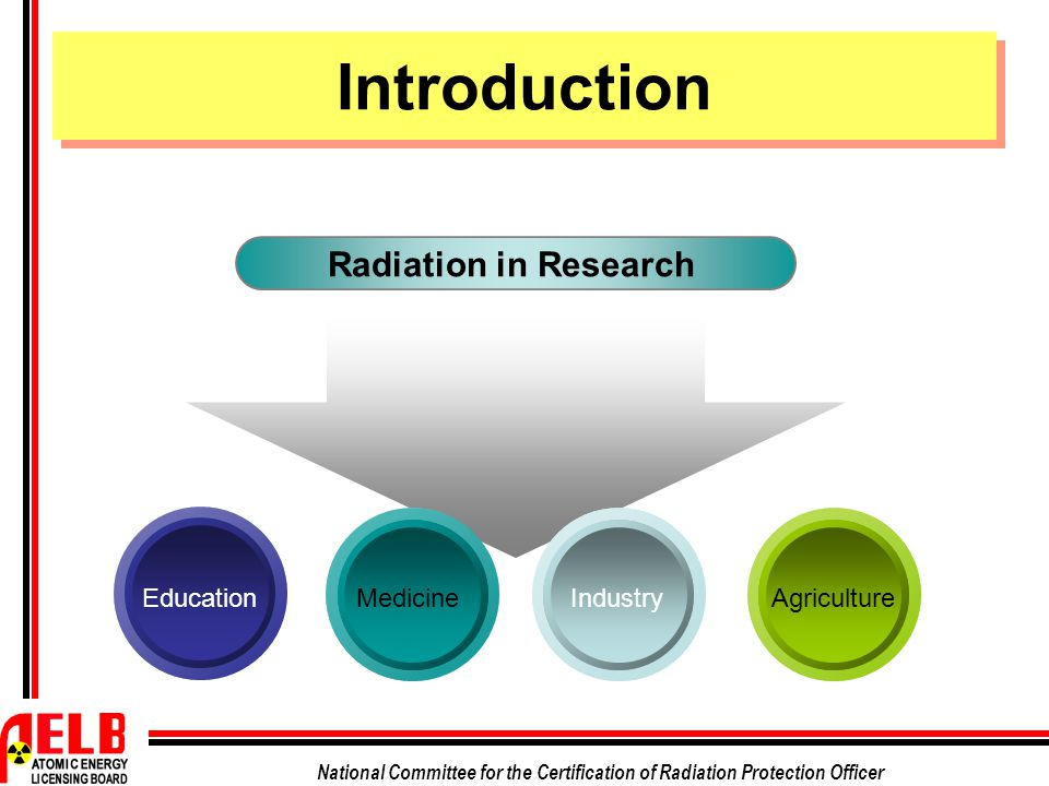 National Committee for the Certification of Radiation Protection Officer Sources of Radiation in Research Radionuclide Irradiating Apparatus X-Ray Machine Linear Accelerator Nuclear Reactor Introduction