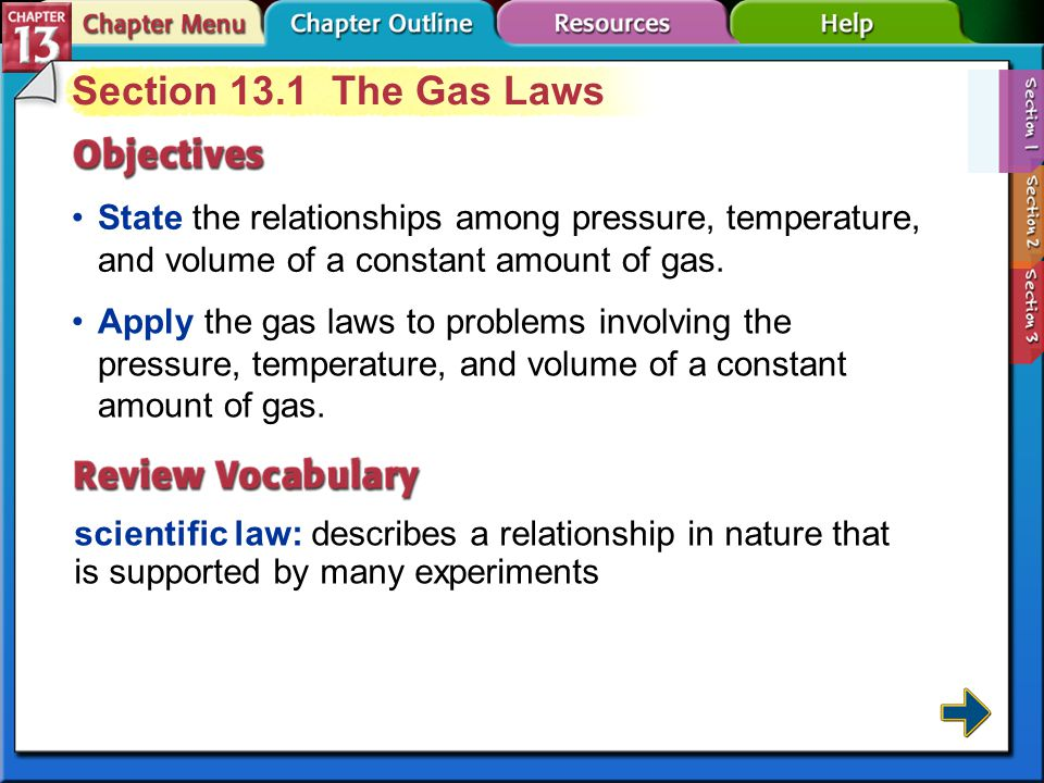 Chapter Menu Gases Section 13.1Section 13.1The Gas Laws Section 13.2Section 13.2 The Ideal Gas Law Section 13.3Section 13.3 Gas Stoichiometry Exit Cli