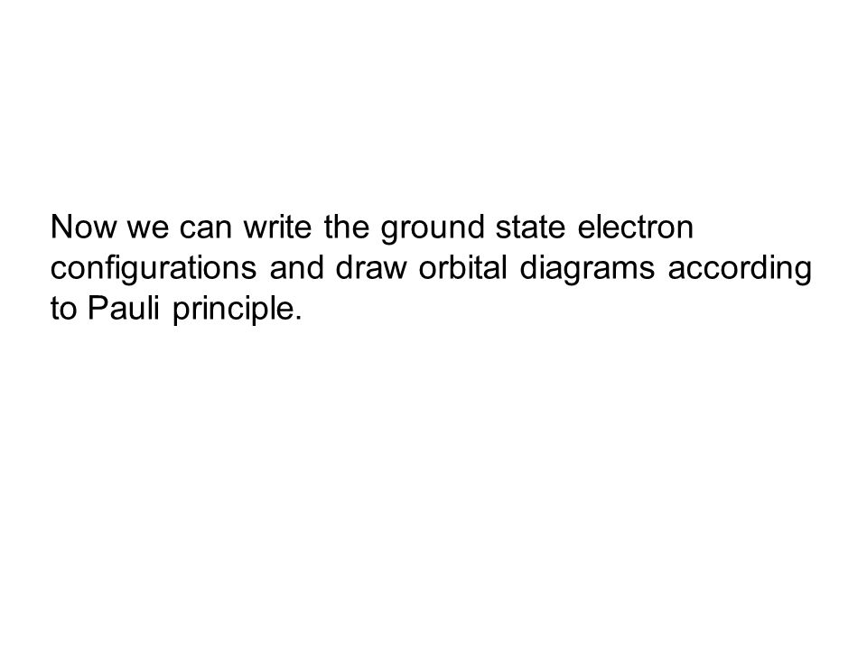 Now we can write the ground state electron configurations and draw orbital diagrams according to Pauli principle.