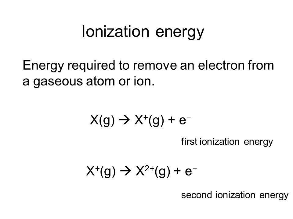 Energy required to remove an electron from a gaseous atom or ion.
